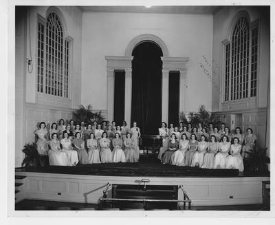 Women's Glee Club (directed by Mildred S. Lewis with Accompanist Adele South Gensemer); This image is on page 222 of the 1941 Kentuckian; Photographer: LaFayette Studio