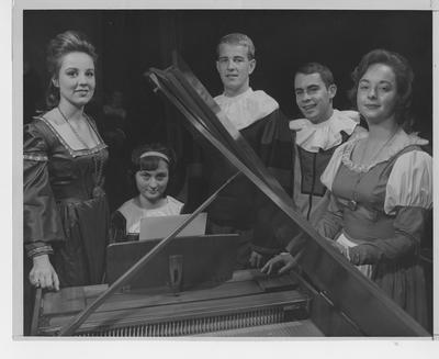 Madrigal Singers dressed for performance; From left to right: Jan Maddox, Donna Poole, Jesse Stith, John Boller, and Susan Talbert