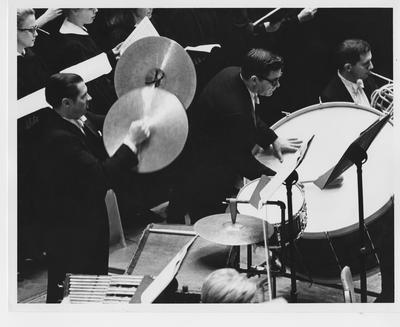 The percussion section during the University of Kentucky chorus performance in Carnegie Hall; Photographer: Beth Bergman
