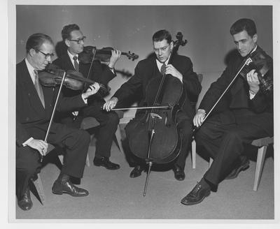 University Faculty Quartet with Marvin Rabin, Gordon Kinney (second from right), and Kenneth Wright (far left); Lexington Herald - Leader staff photo