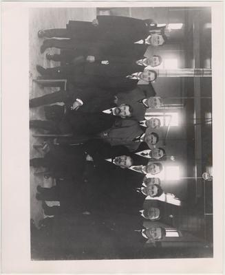 Legislature Committee including J. B. Newman (front row, left); Judge E. C. O'Rear? (front row, right); S. J. Patrick (back row, third from right); C. W. Mathews (back row, second from right)