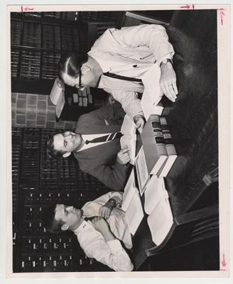 Winners in a will - drafting contest, sponsered by the University of Kentucky College of Law, are from left to right: Luther House (first), Arthur E. Abshine (second), and Henry Snyder (third); The men won $100, $50, and $25; Lexington Herald - Leader staff photo