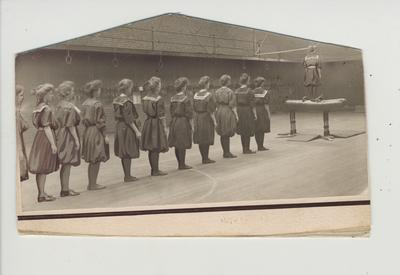 A women's Physical Education class in the gymnasium (which is now called Buell Armory); Includes Nell Wallace (second from left) and Jane Wandless (fourth from left)