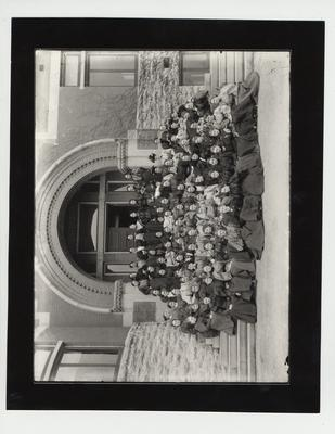 Women enrolled in the A & M College on the steps of the Gillis Building