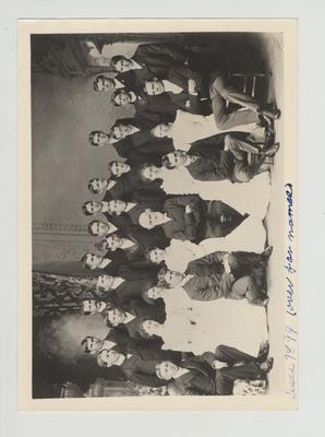 Class of 1899; From left to right, First Row: A. C. Copeland, Frances Butter, Leila Graves, C. C. Jett, Jenny Wilmot, Professor John Shackleford, Jane Cox, P. P. Johnston, Jr., Minnie Lee Horton, and Walter L. Broock; Second Row: L. B. Allen, W. H. Scherffins, W. H. Sasses, S. B. Marks, George Roberts, Sidney A. Smith, Fred Bullock, Joe Davidson, and William Bronaugh; Third Row: A. J. Vance, Joe Morrow, Braddley Young, J. W. Hughes, Eugene Simpson, J. W. Scholtz, W. J. Grinstead, and Richard Warren
