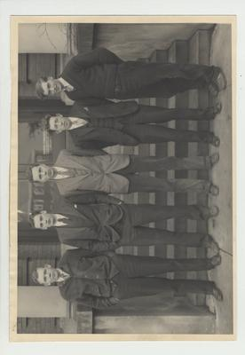 Mining and metallurgical engineering graduate students, Class of 1931; From left to right: B. J. Haefling, J. D. Lancaster, R. K. Thornberry, J. A. Purnell, and E. C. Brandenburg