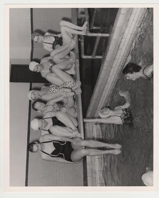 University of Kentucky Northern Center Y. W. C. A.; On the diving board: Barbara Rucker, Becky Hesselman, Nancy Hesselman, Margie Romaniwitz, Faye Stokely, and Gail Damon
