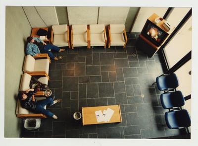 Students in a student lounge