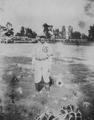 Unidentified baseball player; photo received June 6, 1952 from the Athletic Department