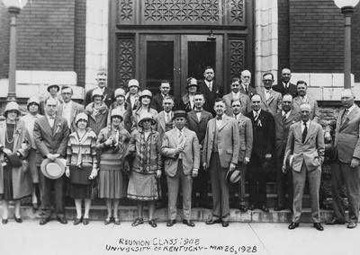 Class of 1908 reunion, University of Kentucky; negative from L. E. Nollau collection; names of individuals listed on photographic  sleeve