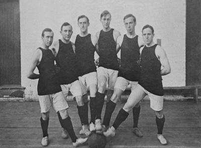 Six unidentified basketball players. Lexington Herald-Leader staff photograph