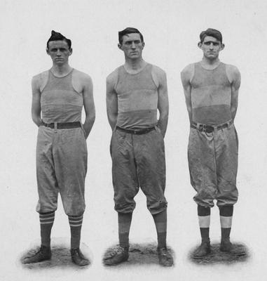 Three basketball players, left to right: Preston, Harrison, Hart; the individual photos are on pages 140-141, in the 1912 Kentuckian