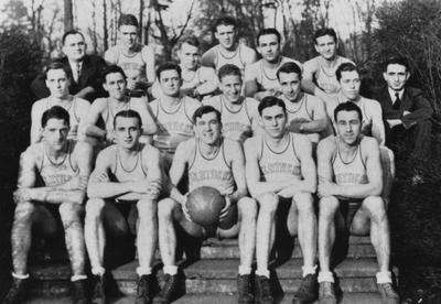 Head Coach Adolph Rupp pictured with members of the 1931 basketball team, his first season at the University of Kentucky