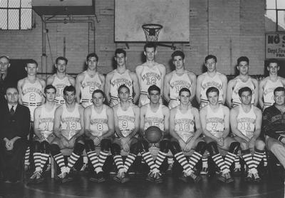Basketball team, 1937-38, with Adolph Rupp seated far left