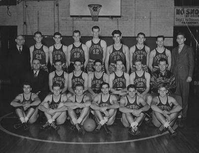 Men's Southeastern Conference Champion basketball team, with Adolph Rupp seated left, 1938-39 season; photographer:  John L. Carter