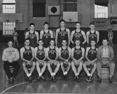 Members of the 1941 Freshman basketball team; names of individuals listed on photograph sleeve; photo appears in 1941 Kentuckian, page 201; photographer:  Lafayette Studios