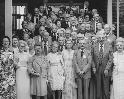 Class members of 1926 attending the 50th Anniversary Reunion Banquet held on May 7, 1976 in the Student Center Ballroom; names of individuals listed on photograph sleeve