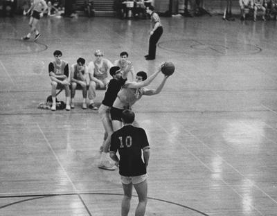 Unidentified students playing intramural basketball game; photo appears on page 95 in the 1969 Kentuckian
