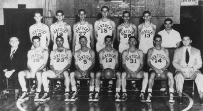 Basketball team photo, 1948-49 season, NCAA season champions; names of individuals listed on photograph sleeve; photo appears on page 129 in the 1949 Kentuckian