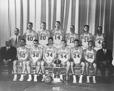 Basketball team photo, 1957-58 season, NCAA national champions; names of individuals listed on photograph sleeve
