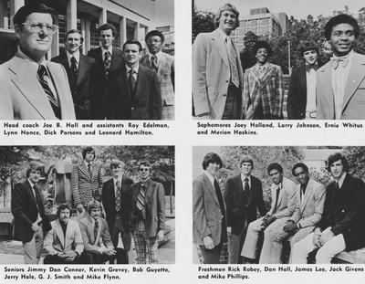 Men's Basketball four-photo collage, 1974-75 season:  1. Coach Joe B. Hall and assistants Roy Edelman, Lynn Nance, Dick Parsons, and Leonard Hamilton; 2. Sophomore players Joey Holland, Larry Johnson, Ernie Whitus, and Merion Haskins; 3. Freshmen players Rick Robey, Dan Hall, James Lee, Jack Givens, and Mike Phillips; 4. Seniors Jimmy Don Conner, Kevin Grevey, Bob Guyette, Jerry Hale, G. J. Smith, and Mike Flynn