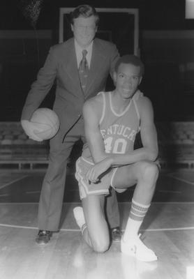 Basketball coach Joe B. Hall and player Fred Cowan
