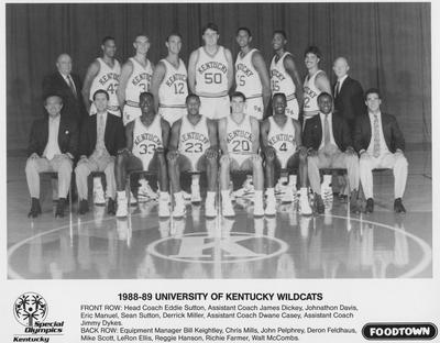 Basketball team photo, 1988-89 season; names of individuals listed on photograph sleeve