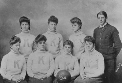 Women's basketball team, Kentucky State College, 1904; photographer:  Mullens; photo appears on page 95 in the 1904 Echoes yearbook