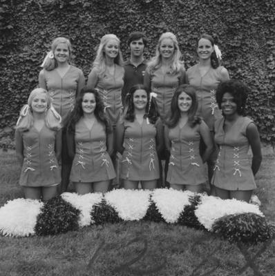 Unidentified members of the cheerleading team