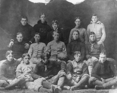 Unidentified members of the 1897 Kentucky State College football team; photographer:  J. D. Turner; photo appears on page 38 in the 1901 Kentuckian