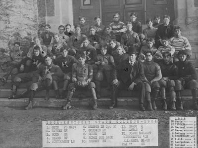 Kentucky State College football team photo, 1904; names of individuals listed on photograph sleeve
