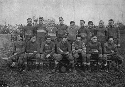 Ashley Ward (2nd row, 5th from left) and other members of the 1911 football team; photo appears on page 124 in the 1912 Kentuckian