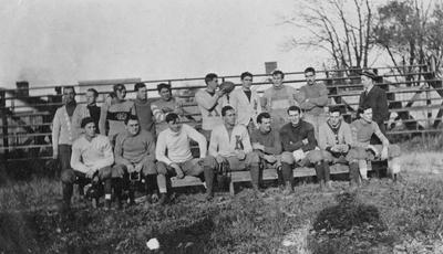 Unidentified members of the senior class football team. Photo appears on page 160 in the 1912 Kentuckian