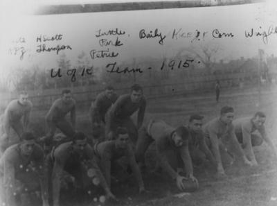 Members of the 1914 State University football team; names of individuals listed on photograph sleeve