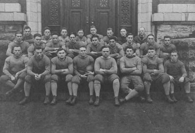 UK football team, 1917; photo appears in the 1918 Kentuckian, page 207; pictured in front of Administration Building