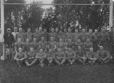 Football team photo; names of individuals listed on photograph sleeve