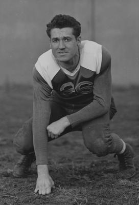 Unidentified football player. Photo appears in the May 11, 1928 Kernel