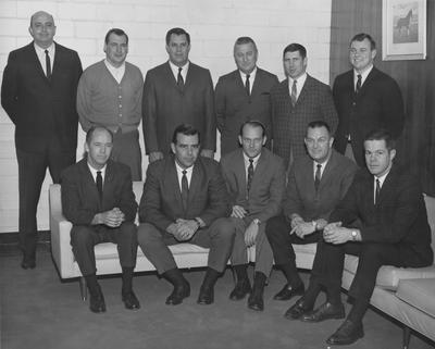 UK Football coaching staff; names of individuals listed on photograph sleeve; photo appears on page 385 in the 1969 Kentuckian