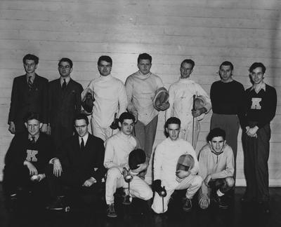UK Fencing team; names of individuals listed on photograph sleeve; Photo appears on page 212 in the 1941 Kentuckian