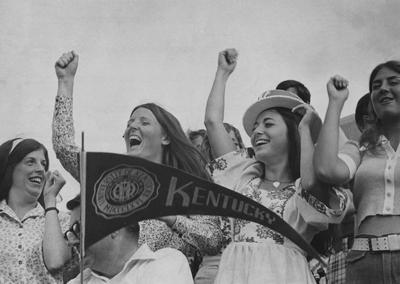 Fans cheering at UK football game
