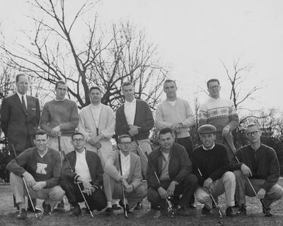 University of Kentucky 1959-1960 Golf Team: Jack Gallagher (back row, second from right), Larry Heath (back row, third from right), Mort Harkey (back row, third from left), Coach L. L. Martin (back row, far left), Johnny Kirk (front row, far right), Ken Arnold (front row, far left), and (not in order) Gary Lester, Jim Berling, John Codey, Tommy Everett, George Mitchell, and Charles McLaughlin. This photo is first on page 213 in the 1959