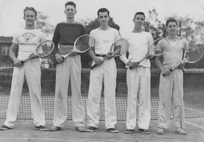 Five members of the UK Tennis team, left to right, Richardson, Cummingham, Ratliff, Smith, and Miller. Photo appears on page 209 in the 1941 Kentuckian