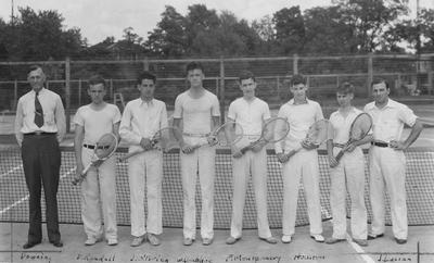 Members of the UK Tennis team, left to right, Coach Downing, D. Randall, J. O'Brien, W. Donohoe, F. Montgomery, Houston, unidentified, and J. Lucien