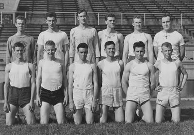 UK Freshman Track team photo; names of individuals listed on photograph sleeve; photo appears on page 207 in the 1941 Kentuckian