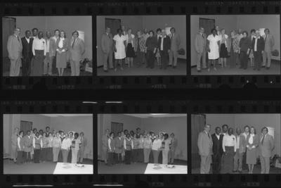 Groups of Service Award recipients, Student Center Auxiliary Services, 1980; proof sheet with eight separate photos