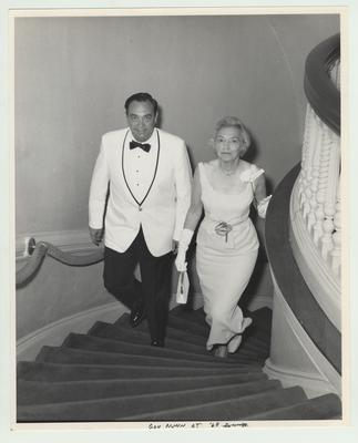 Governor Louie Nunn, shown with Betty Kirwan, was the speaker for the 2nd annual University of Kentucky Fellows dinner at Spindletop Hall
