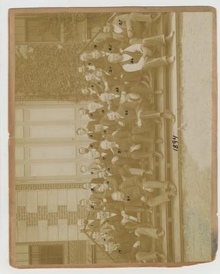 University of Kentucky faculty; 1. C. V. Muncey, 2. J. W. Newman, 3. J. H. Kastle, 4. F. P. Anderson, 5. M. A. Scovell, 6. R. N. Roark, 7. J. M. Davis, 8. A. M. Peter, 9. J. P. Nelson, 10. J. H. Wills, 11. M. B. Jones, 12. R. L. Blanton, 13. C. W. Mathews, 14. John Shackleford, 15. J. K. Patterson, 16. John Neville, 17. P. Wernicke, 18. J. L. Logan, 19. H. E. Curtis, 20. S. M. Swigert, 21. W. K. Patterson, 22. M. L. Pence, 23. J. G. White, 24. A. M. Miller, 25. J. W. Pryor, 26. James Murrey, 27. Dick Johnson; # 11 Jones may actually be Bennett; Given 1950, November 18, by Dr. G. Davis Buckner