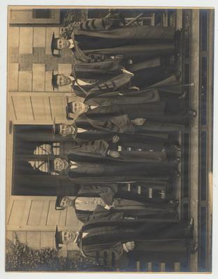 President Patterson (with crutch), President Henry Barker (tallest in back)