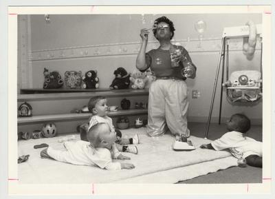 A woman with preschool children