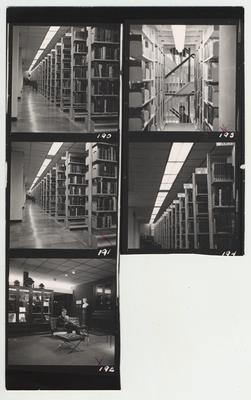 Unidentified student in King South core stacks and person sitting in Special Collections and Archives; Photographer: R. R. Rodney Boyce